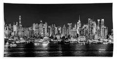 New York City Nyc Skyline Midtown Manhattan At Night Black And White Beach Sheet