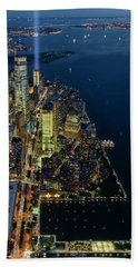 Beach Towel featuring the photograph New York City Remembers 911 by Susan Candelario