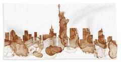 New York City Skyline - Coffee Stains Painting Beach Towel
