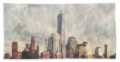 New York City Skyline Including The World Trade Centre Beach Sheet