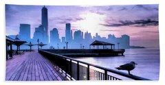 New York City Skyline Jersey City View Beach Towel