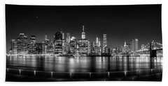 New York City Skyline Panorama At Night Bw Beach Towel