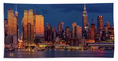 Beach Towel featuring the photograph New York City Skyline Pride by Susan Candelario
