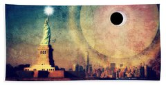 New York City Solar Eclipse 2017 II Beach Sheet
