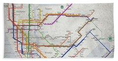 New York City Subway Map Beach Towel