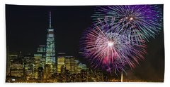 New York City Summer Fireworks Beach Sheet