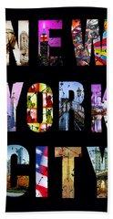 New York City Text On Black Beach Towel
