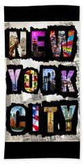 New York City Text Beach Towel