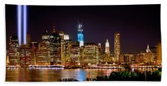New York City Tribute In Lights And Lower Manhattan At Night Nyc Beach Towel