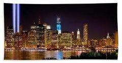 New York City Tribute In Lights And Lower Manhattan At Night Nyc Beach Sheet