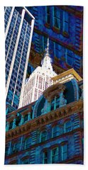 New York City Up Is Down Down Is Up Blue Beach Towel