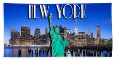 New York Classic Skyline With Statue Of Liberty Beach Towel by Az Jackson