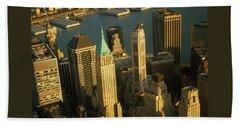 New York Downtown Manhattan Skyline - Architecture Beach Towel by Art America Gallery Peter Potter