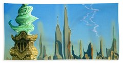 New York Fantasy Skyline - Modern Artwork Beach Towel