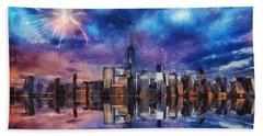 New York Fireworks Beach Towel by Ian Mitchell
