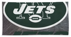 New York Jets On An Abraded Steel Texture Beach Towel