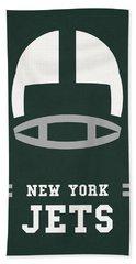 New York Jets Vintage Nfl Art Beach Towel