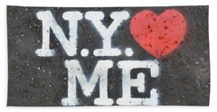 New York Loves Me Stencil Beach Towel