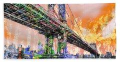 New York City Manhattan Bridge Gold Beach Towel