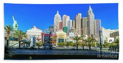 New York New York Casino From The East  2 To 1 Ratio Beach Towel by Aloha Art