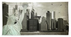 New York New York Da Beach Towel by Judy Wolinsky