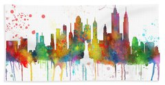 New York Ny Skyline Beach Sheet by Marlene Watson