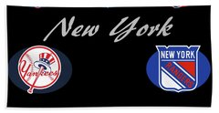 New York Professional Sport Teams Collage  Beach Towel