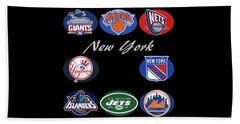 New York Professional Sport Teams Collage  Beach Towel