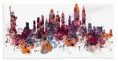 New York Skyline Watercolor Beach Towel