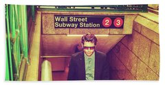 New York Subway Station Beach Towel