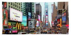 New York Times Square Panorama Beach Towel by Kasia Bitner