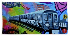 New York Train Beach Sheet by Joan Reese