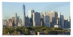 New York View From Brooklyn Harbor Beach Towel by Rod Jellison