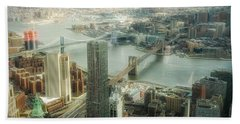 New York View Of East River Beach Towel