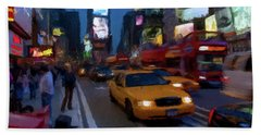 Beach Sheet featuring the painting New York Yellow Cab by David Dehner