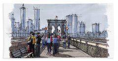 New York.the Bridge.handmade Drawing Beach Towel
