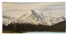 Beach Towel featuring the painting New Zealand Lake by Kevin Daly