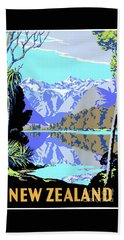 New Zealand Lake Matheson Vintage Travel Poster Beach Towel