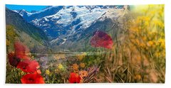 New Zealand Southern Alps Montage Beach Sheet
