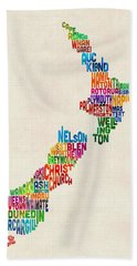 New Zealand Typography Text Map Beach Towel
