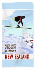 New Zealand Winter Sports Vintage Travel Poster Beach Towel