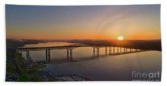 Newburgh-beacon Bridge May Sunrise Beach Towel