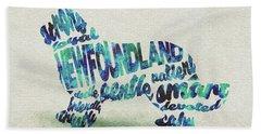 Newfoundland Dog Watercolor Painting / Typographic Art Beach Towel