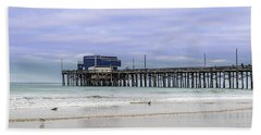 Beach Towel featuring the photograph Newport Pier by Jeremy Farnsworth