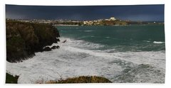 Beach Towel featuring the photograph Newquay Squalls On Horizon by Nicholas Burningham