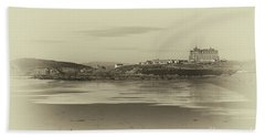 Newquay With Old Watercolor Effect  Beach Towel by Nicholas Burningham