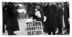 Newsboy Ned Parfett Announcing The Sinking Of The Titanic Beach Towel