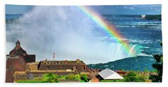 Beach Sheet featuring the photograph Niagara Falls And Welcome Centre With Rainbow by Charline Xia