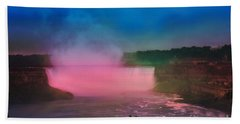 Niagara Falls At Night Beach Towel by Elaine Manley