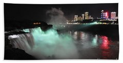 Beach Towel featuring the photograph Niagara Night Lights by Gina Savage